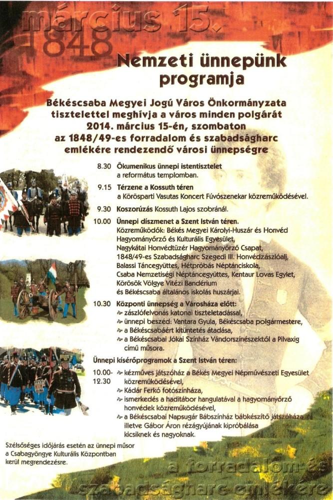 Békéscsaba, Nemzeti Ünnepünk programja 2014. március 15.