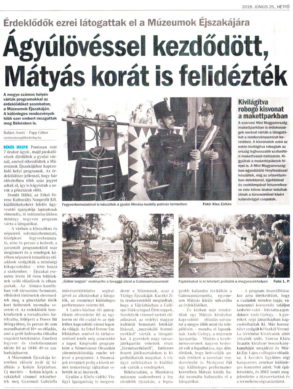 Békés Megyei Hírlap - Ágyúlövéssel kezdődött, Mátyás korát is felidézték - 2018.06.25.