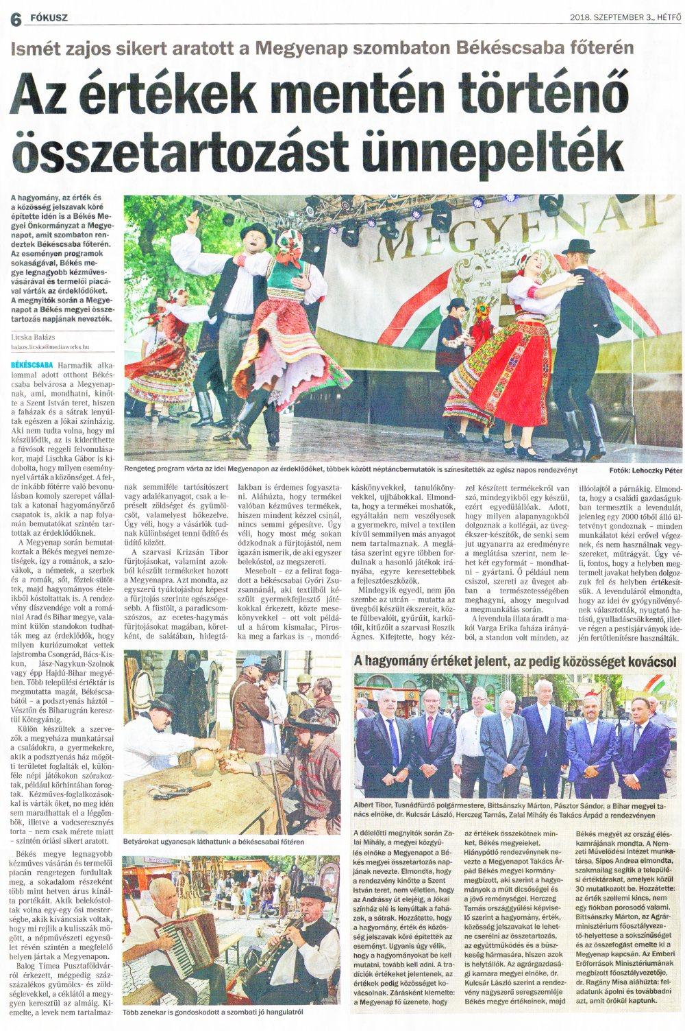 Békés Megyei Hírlap -  Az értékek mentén történő összetartozást ünnepelték - 2018.09.03.