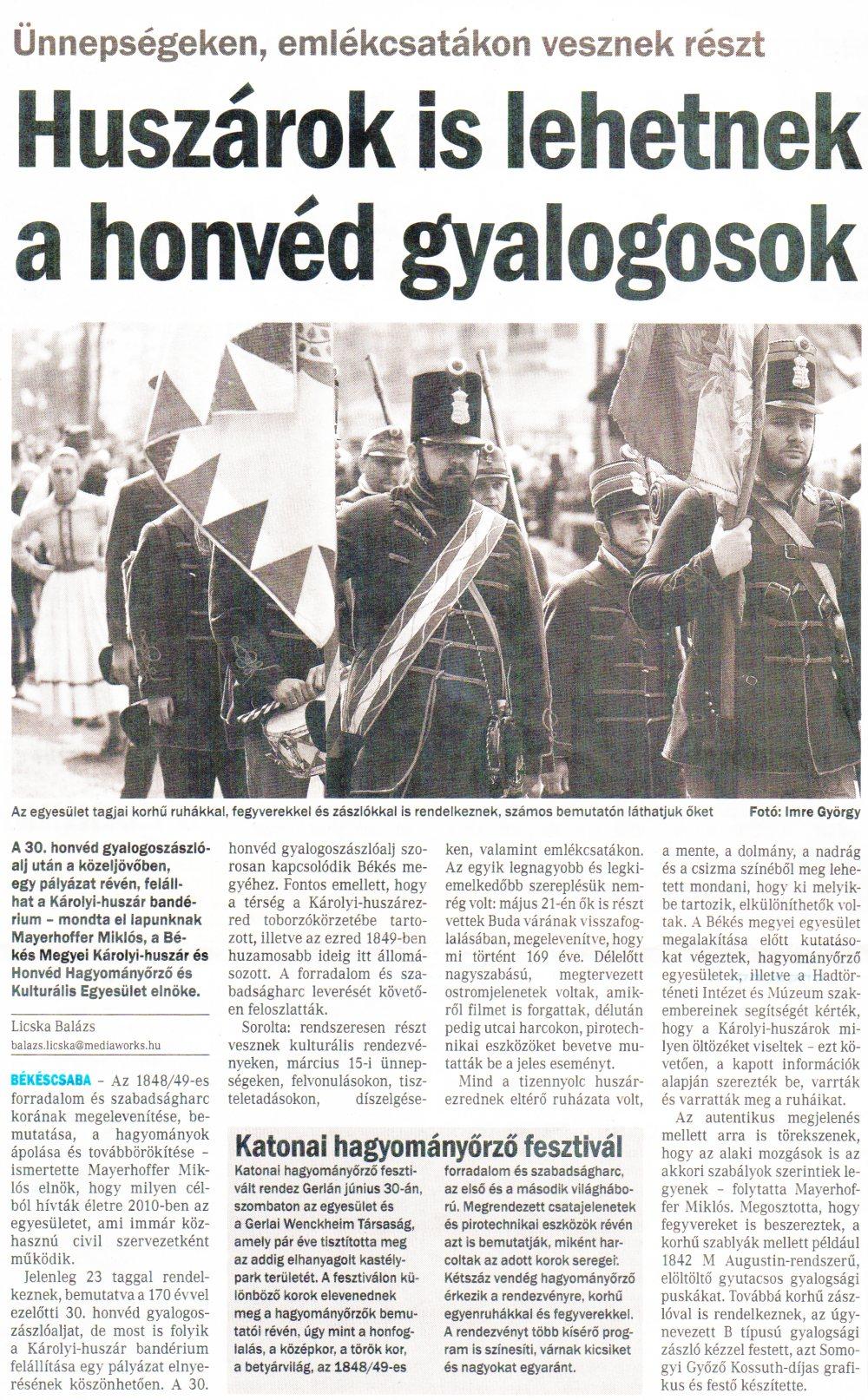 Békés Megyei Hírlap - Huszárok is lehetnek a honvéd gyalogosok - 2018.06.20.