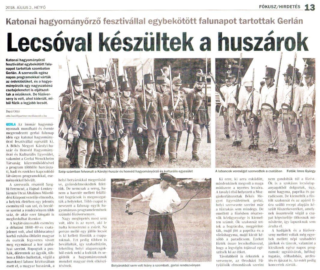 Békés Megyei Hírlap - Lecsóval készültek a huszárok - 2018.07.02.