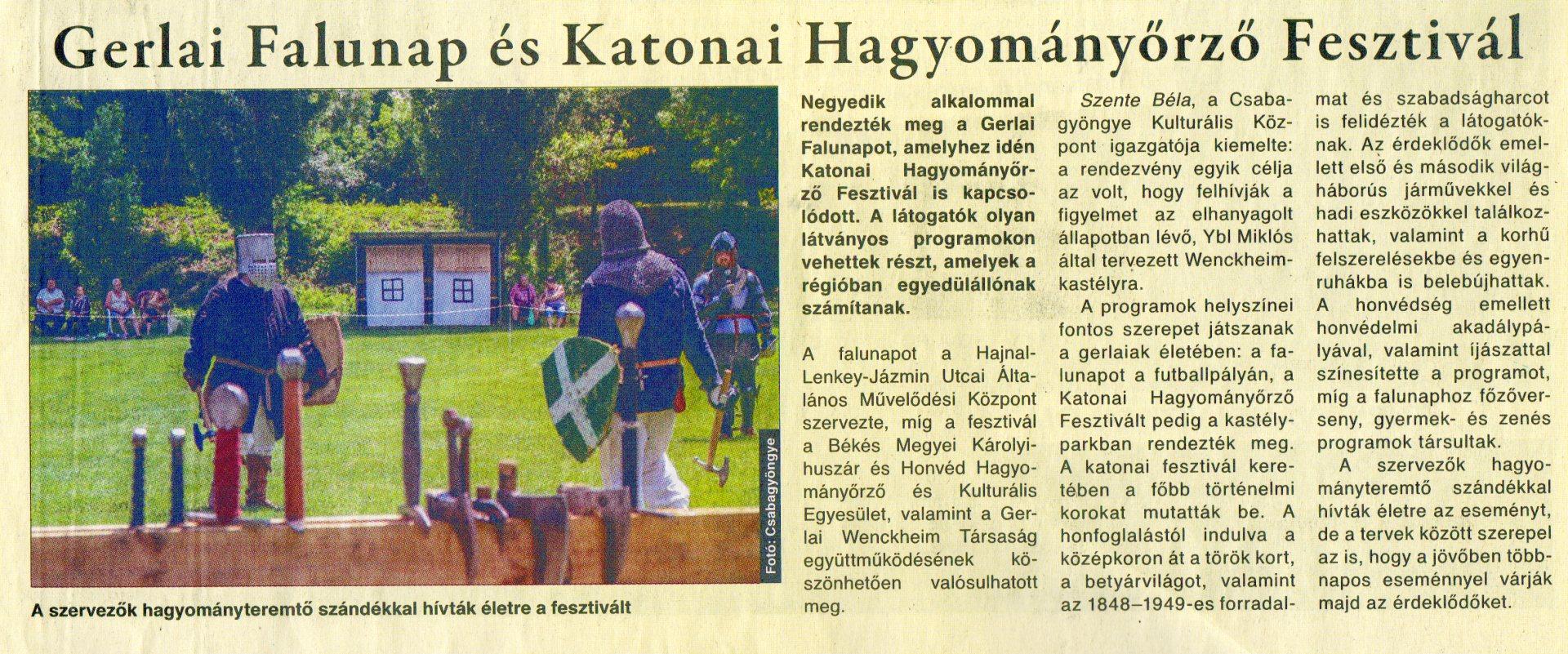 Csabai Mérleg - Gerlai Falunap és Katonai Hagyományőrző fesztivál