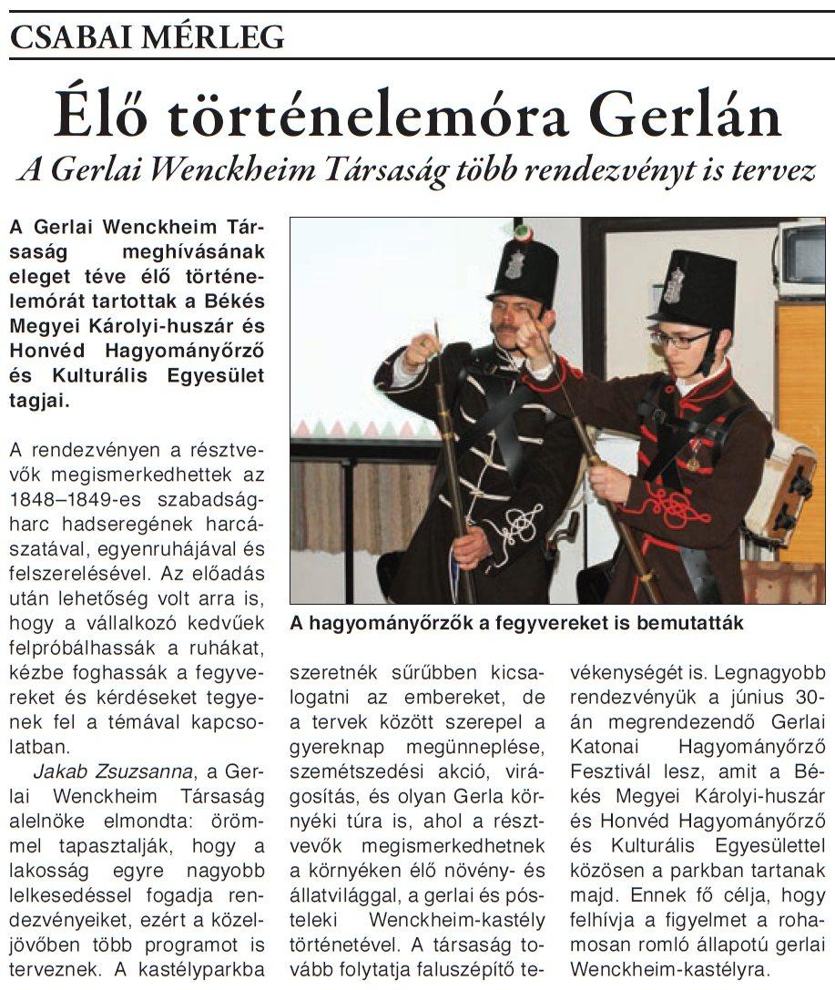 Élő történelemóra Gerlán - 2018.03.17.